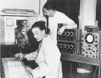 Delgado trabajando junto a su ayudante y esposa, Caroline